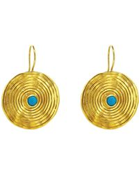 Yvonne Henderson Jewellery - Statement Coil Drop Earrings With Turquoise - Lyst