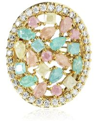 Cielle - Spring Snow Round Statement Cocktail Ring Multicolour - Lyst