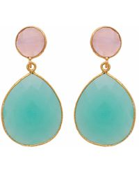 Carousel Jewels | Rose Quartz & Aqua Chalcedony Double Drop Earrings | Lyst