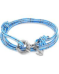 Anchor & Crew - Blue Dash Clyde Anchor Silver & Rope Bracelet - Lyst