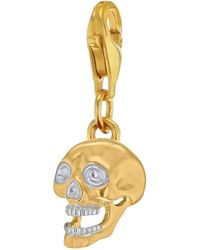 True Rocks - Mixed Metal Skull Charm Gold/silver - Lyst