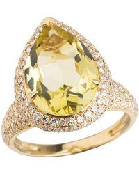Emily Mortimer Jewellery - Aqua Lemon Quartz & Diamond Ring - Lyst