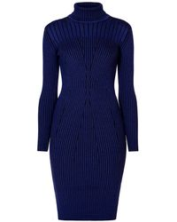 Rumour London - Cleo Blue Two-tone Ribbed Knit Dress - Lyst