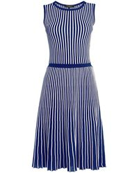 Rumour London - Sienna Blue Striped Fit-and-flare Dress - Lyst