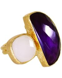 Ottoman Hands - Amethyst And White Chalcedony Two Stone Statement Ring - Lyst