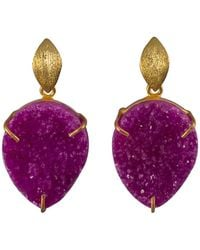 Magpie Rose - Pink Druzy Drop Earrings - Lyst