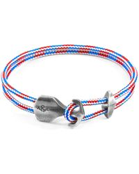 Anchor & Crew - Project-rwb Red White & Blue Delta Silver And Rope Bracelet - Lyst