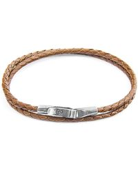 Anchor & Crew - Light Brown Liverpool Silver & Braided Leather Bracelet - Lyst