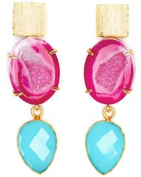 Magpie Rose - Pink Agate & Blue Chalcedony Cocktail Earrings - Lyst