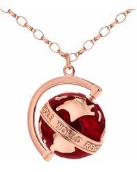 True Rocks - Medium Spinning Globe Necklace Rose Gold & Red Enamel - Lyst