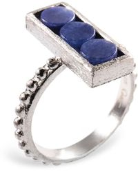 Ona Chan Jewelry - Rectangle Ring With Beaded Shank Blue Quartz - Lyst