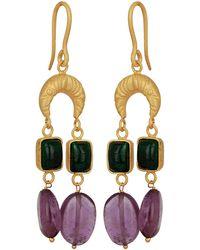 Carousel Jewels - Gold Half Moon & Gemstones Earrings - Lyst