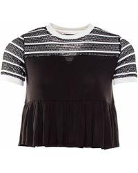 OKAYLA - Black Stripe Mesh T-shirt With Frill - Lyst