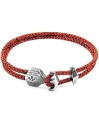 Anchor & Crew - Red Noir Delta Silver & Rope Bracelet - Lyst