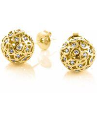 Sonal Bhaskaran - Svar Gold Sphere Earrings Clear Cz - Lyst