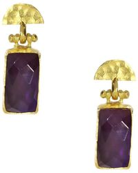 Ottoman Hands - Amethyst Rectangle And Semicircle Drop Earrings - Lyst