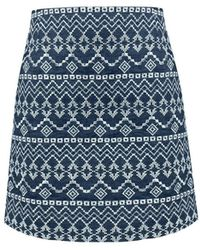 Rumour London - Molly Embroidered Mini Skirt - Lyst