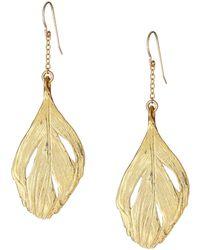 Chupi - Maxi Swan Feather Earrings Gold - Lyst