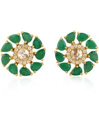 Artisan 18k Gold Diamond And Emerald Stud Earring