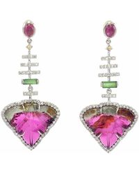 Ri Noor - Carved Tourmaline Leaf & Diamond Drop Earrings - Lyst