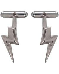 Edge Only - 3d Flat Top Lightning Bolt Cufflinks In Silver - Lyst