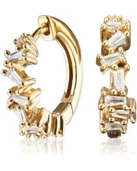 Lily & Roo - Small Gold Jagged Diamond Style Huggie Hoop Earrings - Lyst