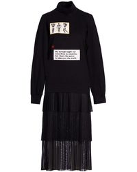 Acephala Black Patch Layered Roll Neck Dress
