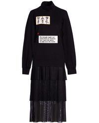 Acephala - Black Patch Layered Roll Neck Dress - Lyst