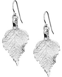 Chupi | Tiny Raspberry Leaf Earrings Silver | Lyst