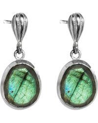 Juvi Designs - Silver Cocoa Pod Tulum Earrings With Labradorite - Lyst