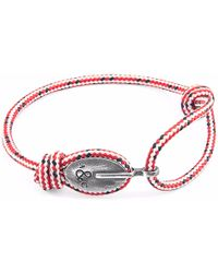 Anchor & Crew - Red Dash London Silver & Rope Bracelet - Lyst