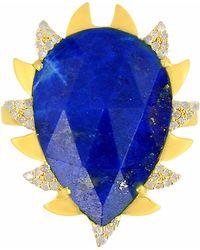 Meghna Jewels | Claw Ring Lapis & Diamonds | Lyst
