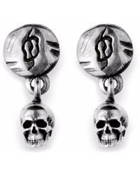Platadepalo - Small Silver Skull Earrings - Lyst