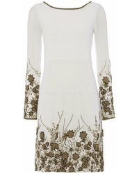 Raishma - Ivory With Bronze Embroidery Shift Dress - Lyst
