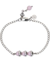 Nadia Minkoff - Square Stone & Glass Pearl Bracelet Soft Pink - Lyst