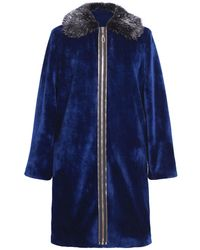 Ardent & Co - Midnight Blue Stretchy Faux Mink Fur Coat - Lyst