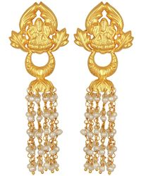 Carousel Jewels - Ornate Gold & Pearl Chandelier Earrings - Lyst