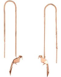 Origami Jewellery - Parrot Rose Gold Chain Earrings - Lyst