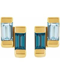 Neola - Anais Gold Stud Earring With London & Blue Topaz - Lyst