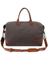 MAHI - Classic Travel Bag In Grey Canvas & Brown Leather - Lyst