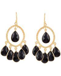 Carousel Jewels - Black Spinel Hoop Cluster Earrings - Lyst