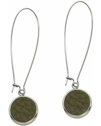 N'damus London | Silverdale Olive Leather & Steel Drop Earrings | Lyst