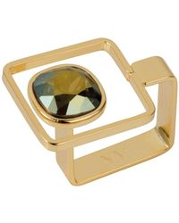 Nadia Minkoff - Square Frame Ring Gold Iridescent Green - Lyst