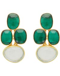 Carousel Jewels - Abstract Oval Chrysoprase & Chalcedony Earrings - Lyst