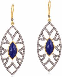 Meghna Jewels - Bora Bora Earrings Lapis & Diamonds - Lyst