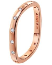 Opes Robur - Rose Gold Plated Silver Stacking Ring With Crystals - Lyst