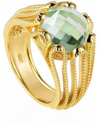 Neola - Alessia Gold Cocktail Ring With Green Amethyst - Lyst