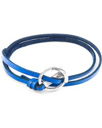 Anchor & Crew - Royal Blue Ketch Silver And Leather Bracelet - Lyst