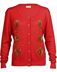 Asneh - Red Krystle Cashmere Cardigan - Lyst