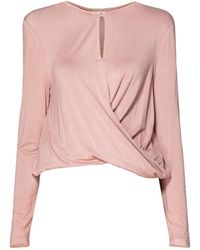 Paisie - Jersey Top With Wrap Waist Detail In Blush - Lyst